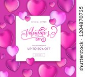 happy valentines day sale flyer ... | Shutterstock .eps vector #1204870735