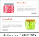 preserved food banners  sweet... | Shutterstock .eps vector #1204873345