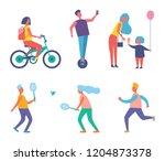biker woman with rucksack on...   Shutterstock .eps vector #1204873378