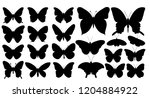 Stock vector butterfly silhouette set collection 1204884922