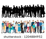 silhouette of people standing... | Shutterstock .eps vector #1204884952
