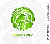 healthy food logo. round emblem ... | Shutterstock .eps vector #1204886668