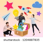 creative people with a treasure ... | Shutterstock . vector #1204887835