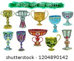 antique cups and goblets... | Shutterstock . vector #1204890142