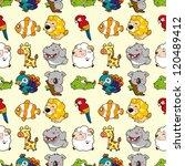 seamless animal pattern cartoon ... | Shutterstock .eps vector #120489412