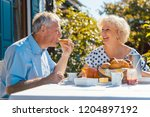 senior woman and man having... | Shutterstock . vector #1204897192