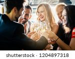 birthday party in a limo with... | Shutterstock . vector #1204897318