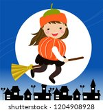 a  girl dressed in a witch... | Shutterstock .eps vector #1204908928