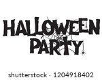 halloween party text and... | Shutterstock .eps vector #1204918402