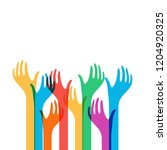 colored hands reach up vector... | Shutterstock .eps vector #1204920325