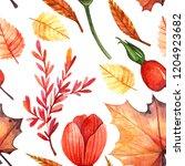 seamless watercolor autumn... | Shutterstock . vector #1204923682
