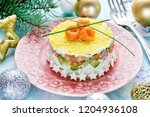 christmas layered salad with...   Shutterstock . vector #1204936108