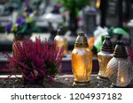 flowers  candles  lights on the ... | Shutterstock . vector #1204937182