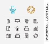 workspace icons set. printer...