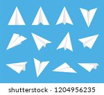set of fold paper airplane... | Shutterstock .eps vector #1204956235