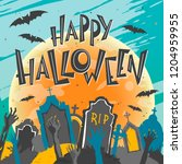 halloween poster with lettering ... | Shutterstock .eps vector #1204959955