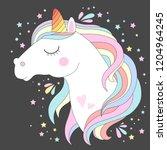 vector unicorn head. cute white ... | Shutterstock .eps vector #1204964245