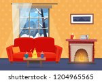 living room with furniture.... | Shutterstock .eps vector #1204965565