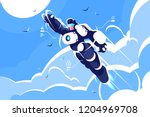 man astronaut super hero... | Shutterstock .eps vector #1204969708
