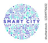 smart city concept in circle... | Shutterstock .eps vector #1204970632