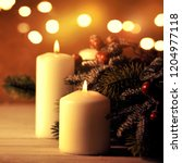 christmas candles and ornaments ... | Shutterstock . vector #1204977118