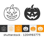 jack o lantern black linear and ... | Shutterstock .eps vector #1204983775