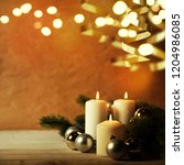 christmas candles and ornaments ... | Shutterstock . vector #1204986085