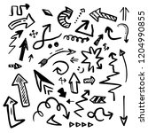 set of hand drawn arrows... | Shutterstock .eps vector #1204990855