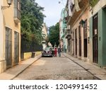 street scene with colorful old... | Shutterstock . vector #1204991452