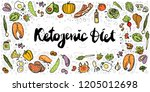 ketogenic diet vector sketch... | Shutterstock .eps vector #1205012698