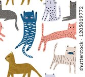 seamless pattern with cute... | Shutterstock .eps vector #1205019772