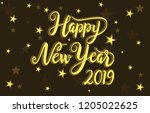happy new year 2019 greeting... | Shutterstock .eps vector #1205022625