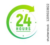 24 hours a day icon. green... | Shutterstock . vector #1205023822