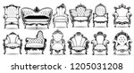baroque armchair and sofa set.... | Shutterstock .eps vector #1205031208
