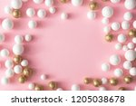 christmas pink background with... | Shutterstock . vector #1205038678