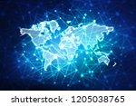 2d illustration of world map on ...   Shutterstock . vector #1205038765