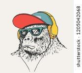 gorilla listening music in... | Shutterstock .eps vector #1205042068