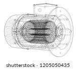 electric motor sketch. vector...   Shutterstock .eps vector #1205050435