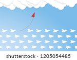 red airplane changing direction ... | Shutterstock .eps vector #1205054485
