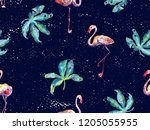 large flamingo hipster red... | Shutterstock . vector #1205055955
