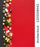 christmas decoration background ... | Shutterstock . vector #1205058442