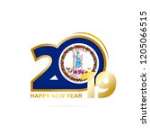year 2019 with virginia flag... | Shutterstock .eps vector #1205066515