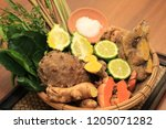 thai natural herbs ingredients... | Shutterstock . vector #1205071282