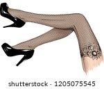 vector girls in high heels.... | Shutterstock .eps vector #1205075545