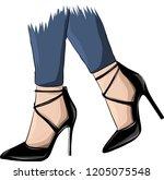 vector girls in high heels.... | Shutterstock .eps vector #1205075548