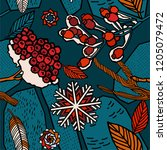 winter berries seamless pattern. | Shutterstock .eps vector #1205079472