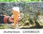 baby hand holding ice cream... | Shutterstock . vector #1205080225