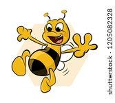 funny smiling bee. cartoon...   Shutterstock .eps vector #1205082328