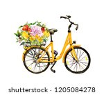yellow bicycle with flowers in... | Shutterstock . vector #1205084278