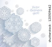 3d Abstract Snowflakes  Vector...